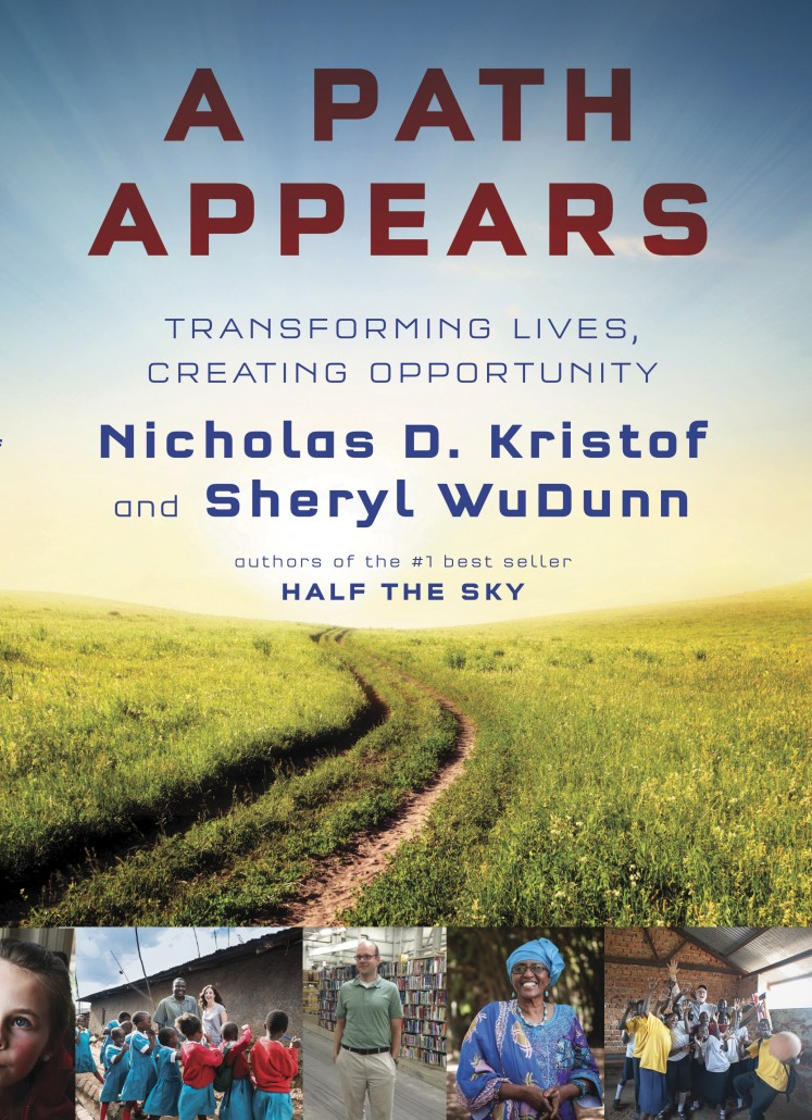 Book Cover of a Path Appears by Nicholas Kristoff and Sheryl Wudunn. Features a grassy field with a sun in the background.